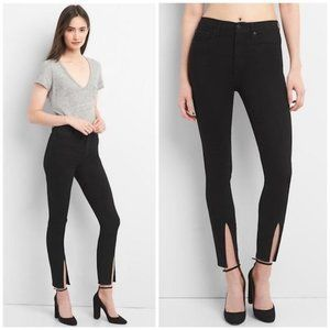 Black GAP Split-Hem Ankle Skinny Jeans (NWT)